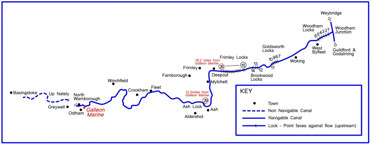 Basingstoke Canal Map Narrowboat Holidays and Short Breaks   Basingstoke Canal   Galleon